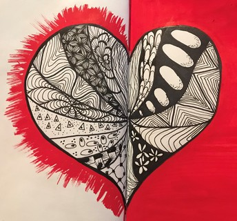 Zen tangle heart with red and black coloring