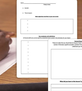 iREADY: Provide Students with a Notes Worksheet to Use During iReady Lessons