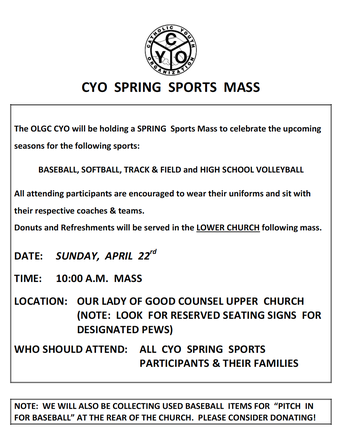 OLGC CYO Spring Sports Mass