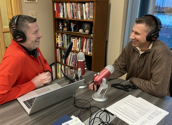 Dr. Steve Cook, left, and Jeff Voeller, Director of Operations, record podcast.
