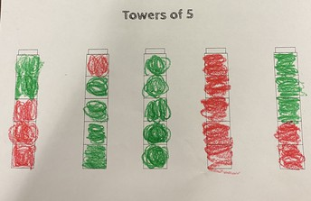 Using cubes to make Towers of 5!