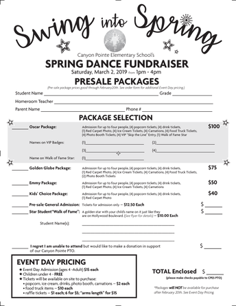 Spring Dance Fundraiser - March 2nd