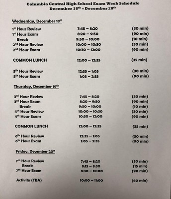 High School Exam Schedule