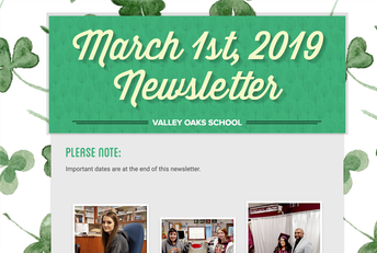 screen shot of the top of the March 1st newsletter