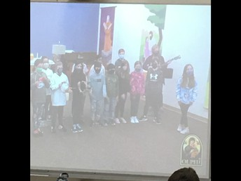 4P participating in the virtual Easter mass.