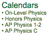 Physics Calendars