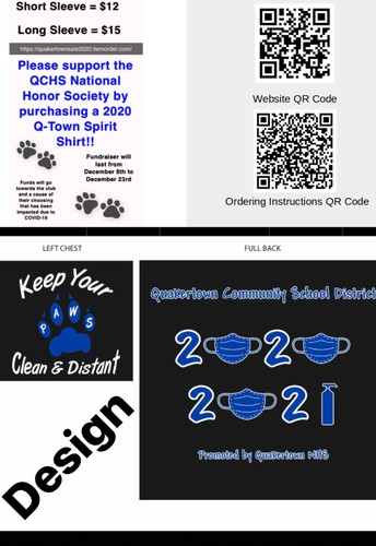 QCHS National Honor Society t-shirt fundraiser