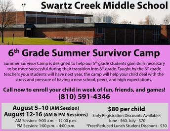 6th Grade Summer Survivor Camp