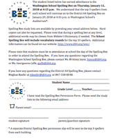 Washington Spelling Bee Permission Slip