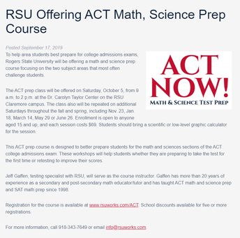 RSU ACT Prep Available