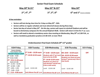 Final Exam Schedules Posted