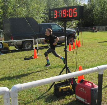 Brynlee leaps over the finish line!