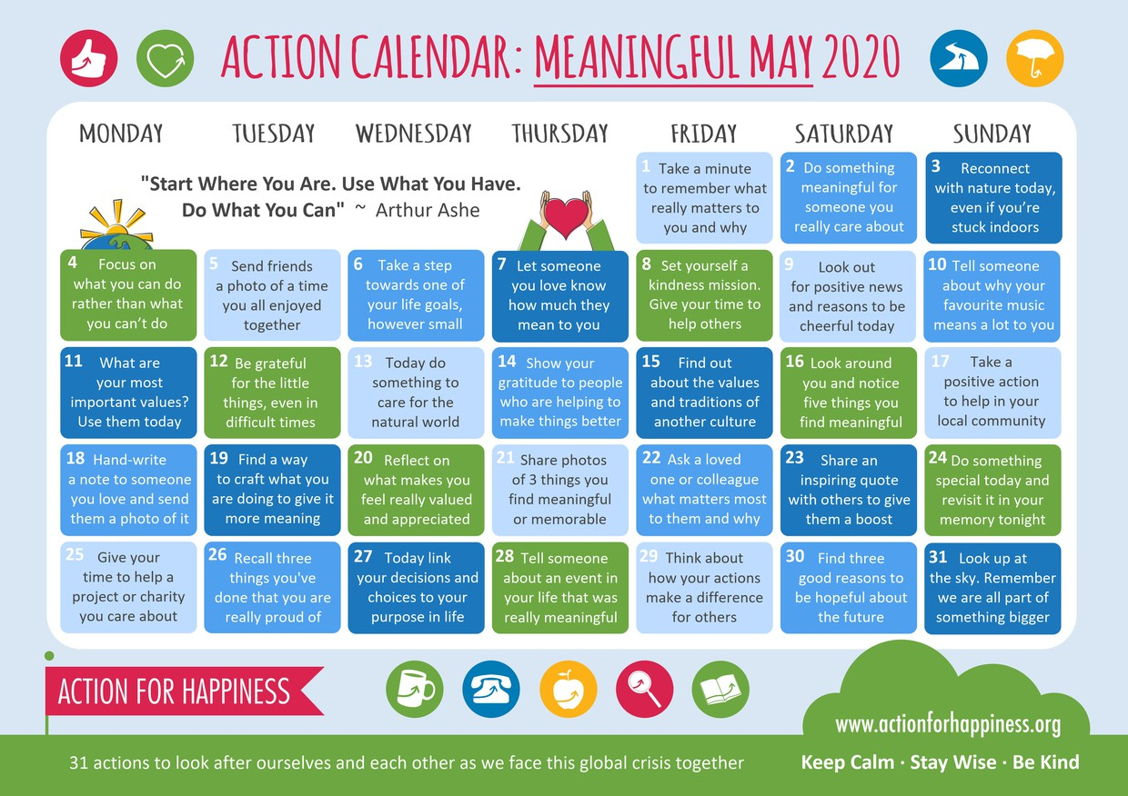 """Action For Happiness """"Meaningful May"""" Calendar"""