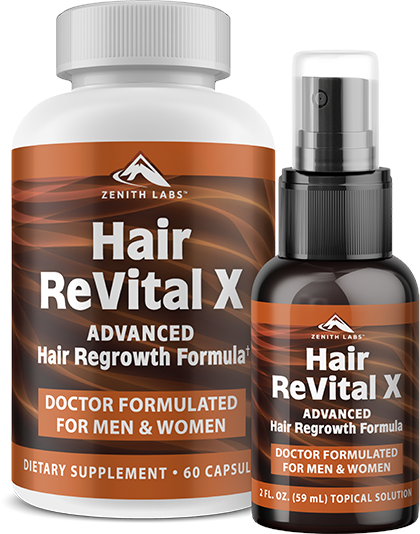 """Zenith Labs """"Hair ReVital X"""" Serum & Supplement"""