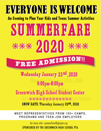 Summerfare2020 flyer with information about the PTA sponsored event at GHS on January 22, 2020 from 6:00-8:00pm