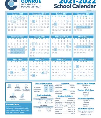 2021-2022 CISD School Calendar