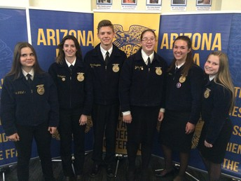 Third place Gilbert FFA Conduct of Meetings team. From left to right, Emily Crawford, Chaille Driggers, Blake Stringfellow, Sophia Kolb, Katie Heitmann, and Delanie Christensen. Not pictured - Izzy Taft.