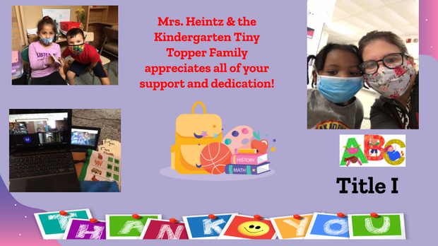 Thank You Slide & Photos with Mrs. Laurie Heintz and Tiny Toppers Students