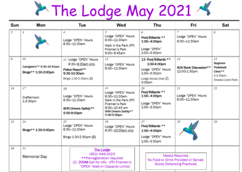 Graphic of May Lodge Calendar 2021