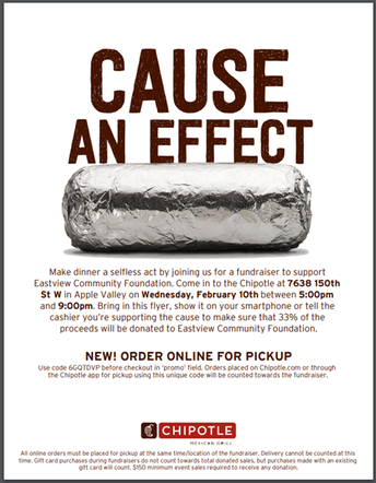 (New) Chipotle Fundraising Night for EVCF- 2/10/21