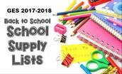 School Supply List 2017-2018
