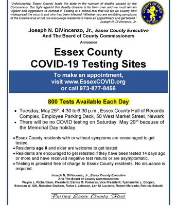 Essex County Covid-19 Testing Site, Tues., May 25