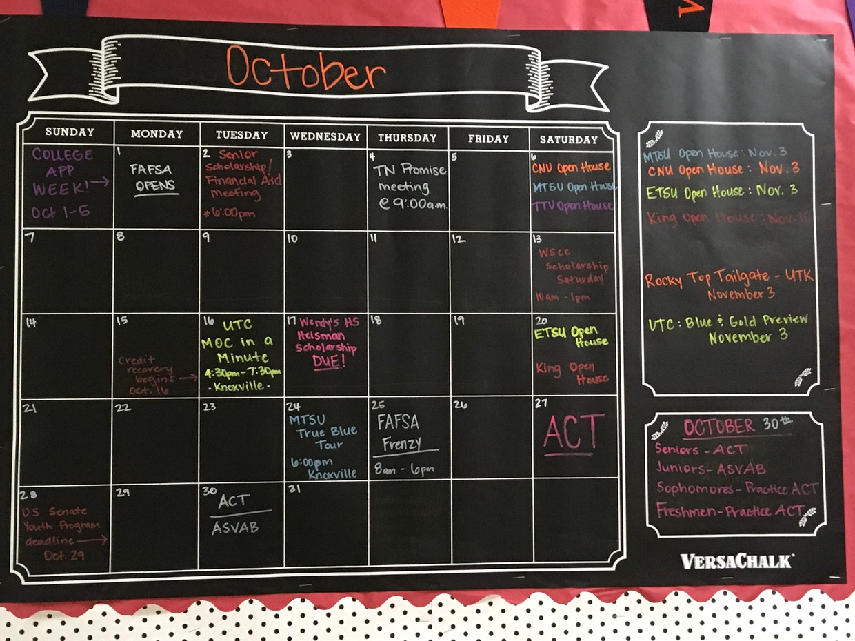 October calender of events