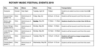 Rotary Music Schedule of Events