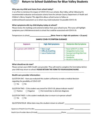 Return to School Authorization Form