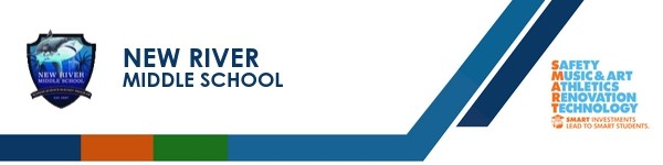 A graphic banner that shows New River Middle School's name and SMART logo