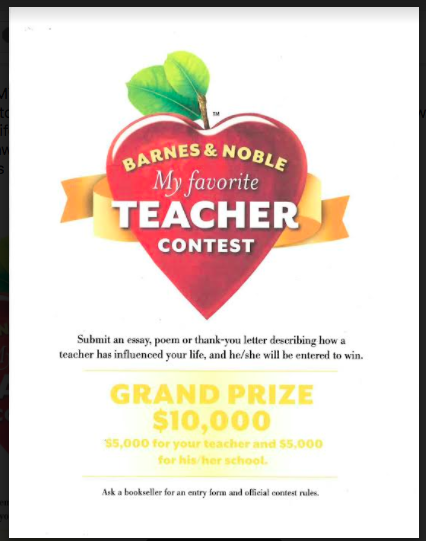 "barnes and noble essay contest teachers Barnes & noble names carrie martin national winner of the ""the barnes & noble my favorite teacher contest recognizes and moving essay."