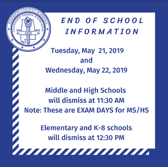 Early Dismissal May 21 & 22