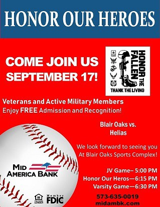 Honor Our Heroes Game - Sept. 17th