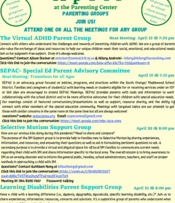 April at the Parenting Center:  Parent Support Group