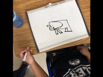 Elephant drawings as part of an Elephant Study in Kindergarten.