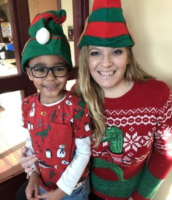Twinning in Dinosaur Christmas Shirts