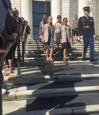 Heading down steps to Wreath Ceremony