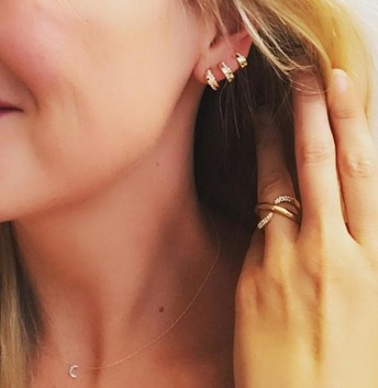 Pave Trio Earrings - Gold