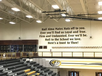 Alma Mater Displayed in the Smith-Cotton Fieldhouse