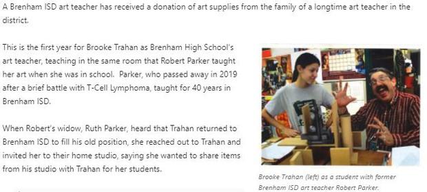 BRENHAM ISD ART TEACHER RECEIVES OVER $6,000 IN ART SUPPLIES FROM FAMILY OF FORMER ART TEACHER