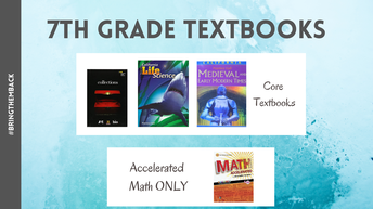 7th Grade Text Books to Return