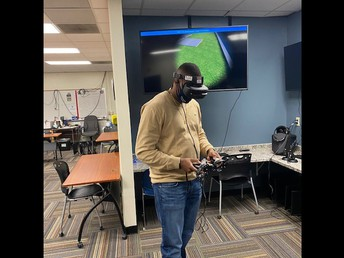 Mr. Barnes testing out our new virtual reality room!