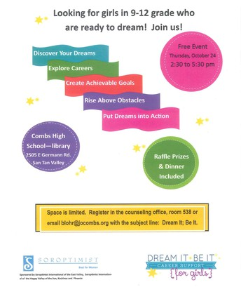 DREAM IT! BE IT!  CAREER SUPPORT FOR GIRLS