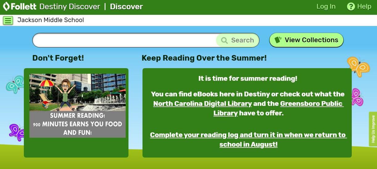 screenshot of Destiny Discover homepage
