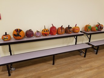 Pumpkin decorating made possible by The Grants