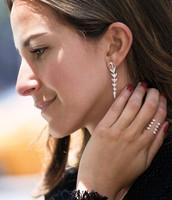Arrow Drop Earrings - Silver
