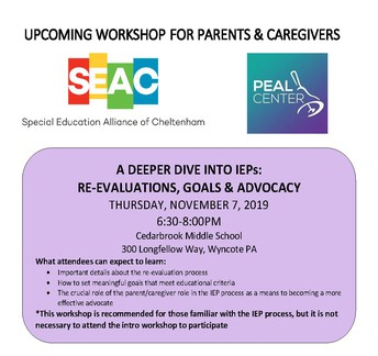 SEAC Meeting | Deep Dive Into IEPs: A Parent Workshop
