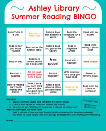 Ashley Summer Reading Bingo