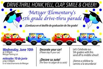 5th grade drive-thru parade/Desfile en auto para los de 5to grado