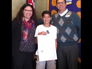 Diego Guillen with Micaela Morales, Teacher and Joe Gonzales, Rotary President